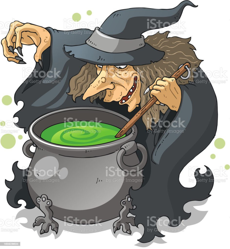 Witch Preparing Green Magic Potion Halloween royalty-free stock vector art