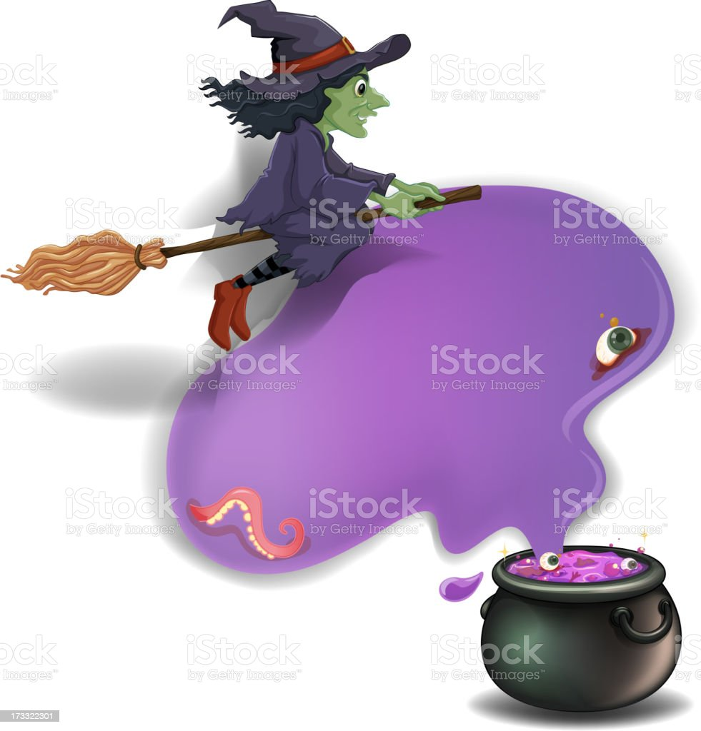 witch riding on  broom with a pot royalty-free stock vector art
