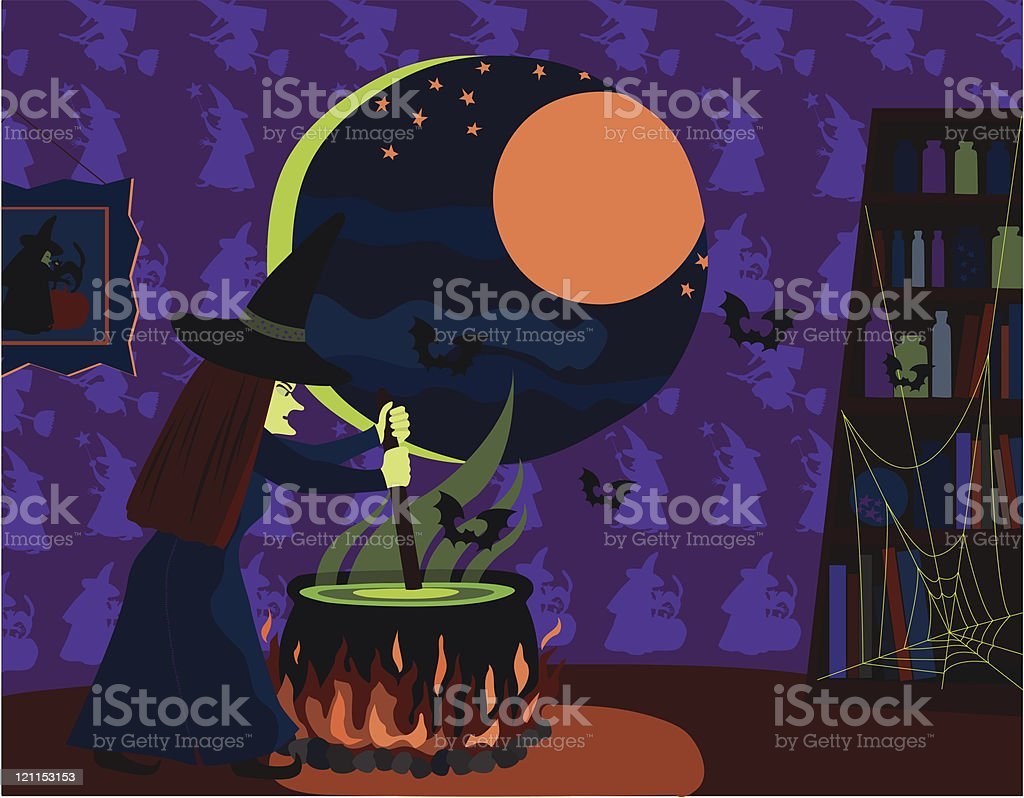 Witch Stirring Cauldron on Halloween royalty-free stock vector art