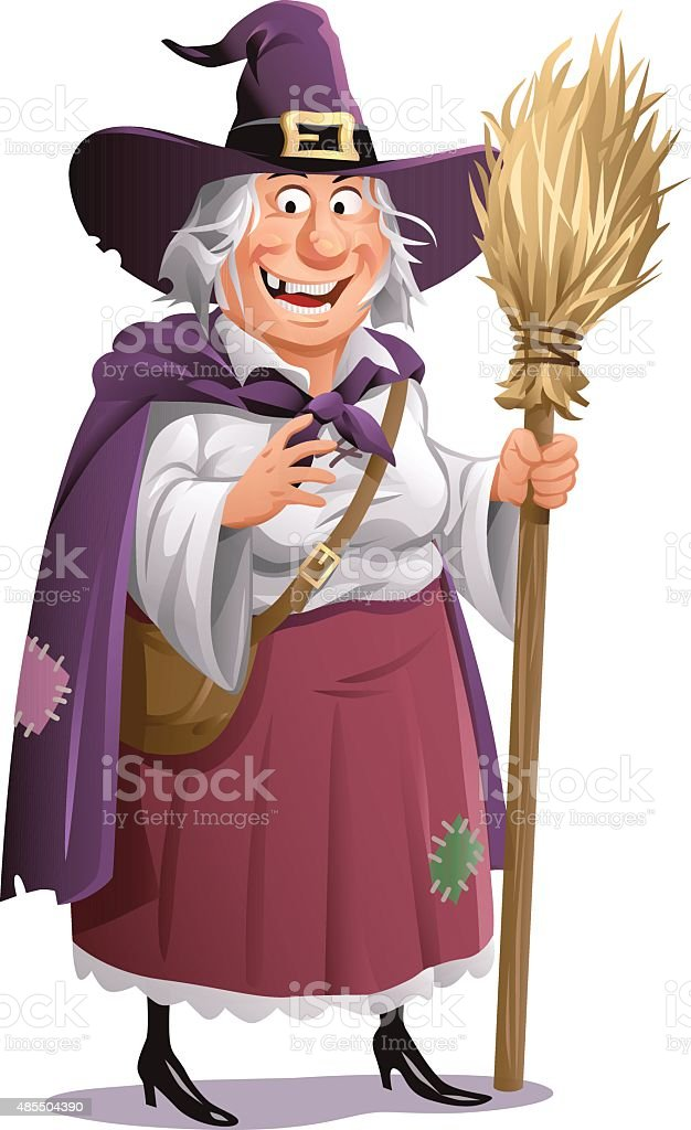 Witch With Broom vector art illustration