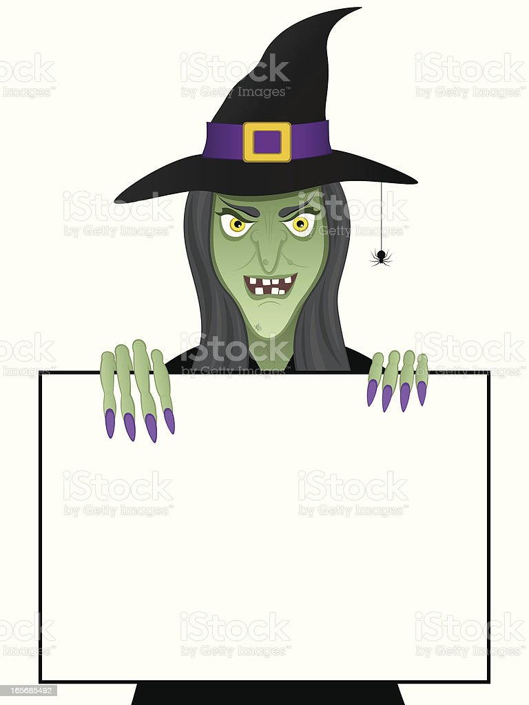 Witch with Sign royalty-free stock vector art