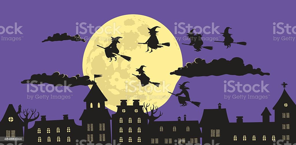 Witches in The Night vector art illustration