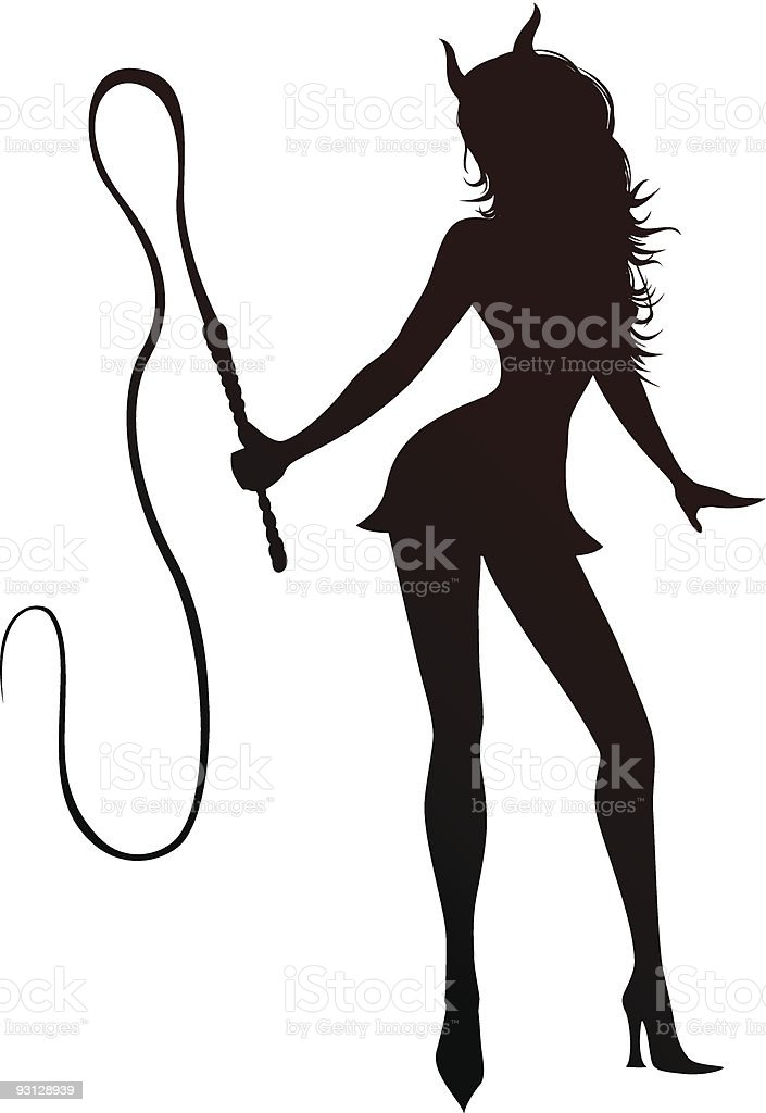 Witch's silhouette with whip royalty-free stock vector art