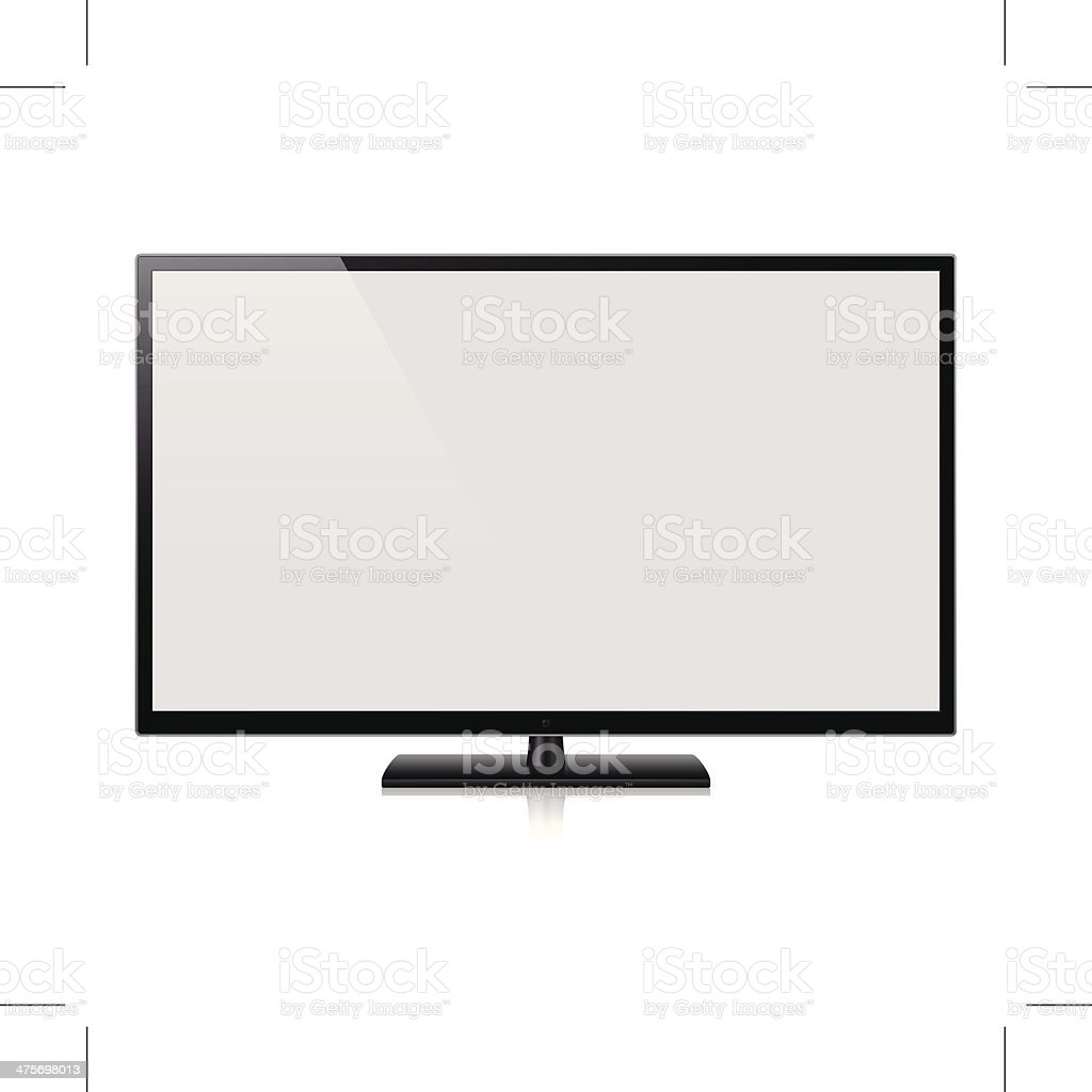 HD TV with blank screen (Vector) vector art illustration