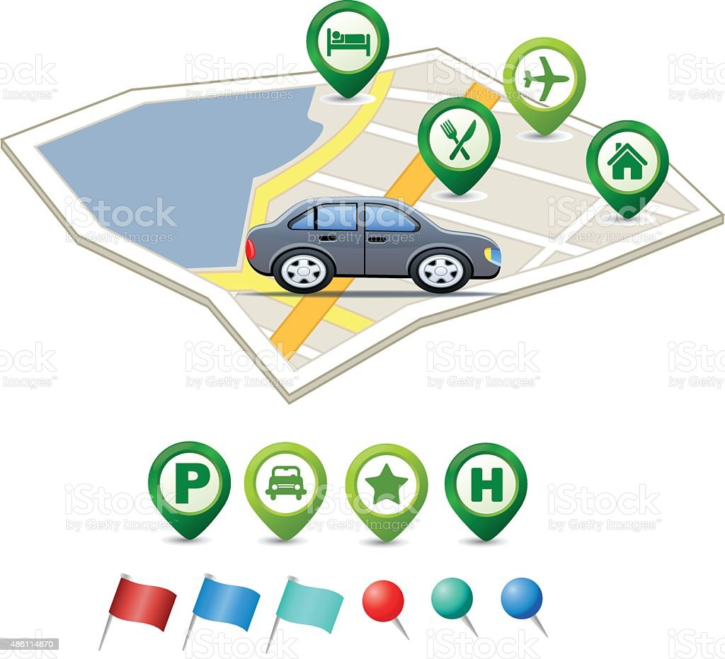 MAP with car and pointer icons vector art illustration