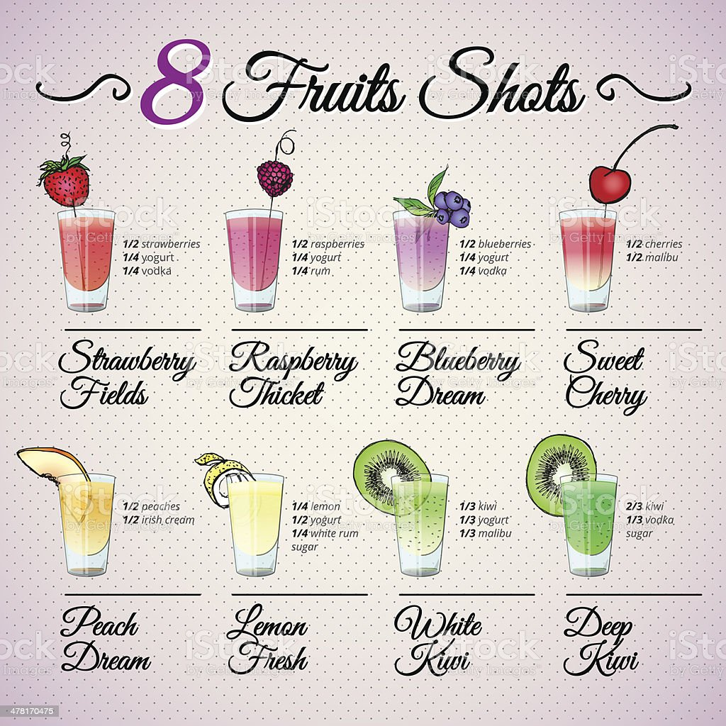 FRESH FRUIT SHOTS SET with fruit decoration vector art illustration