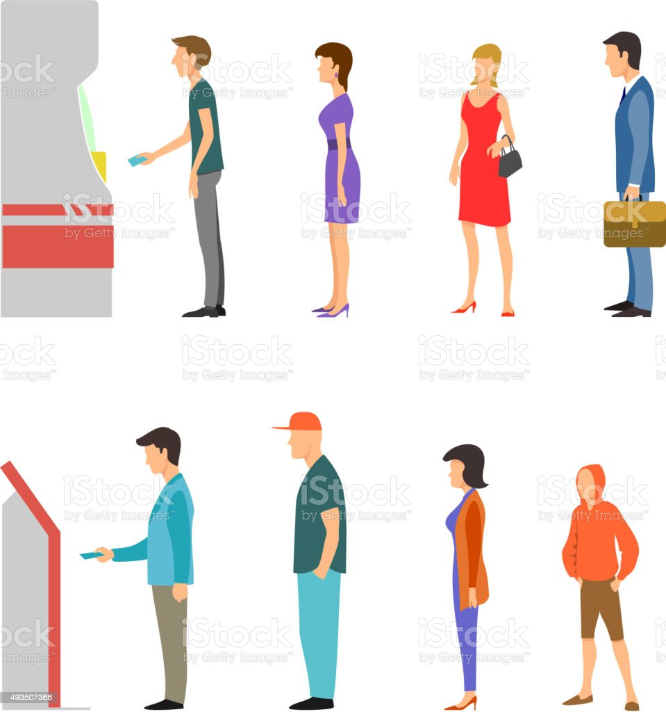 ATM with line of men and women vector art illustration