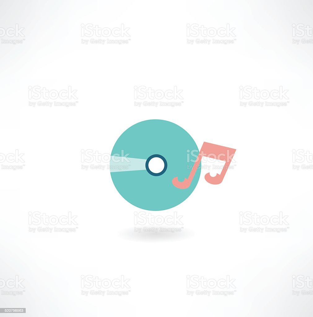 CD with music icon vector art illustration