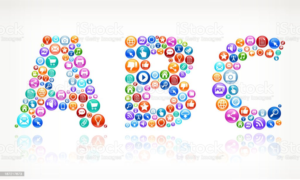 ABC with Social Networking and Internet royalty free vector arts royalty-free stock vector art