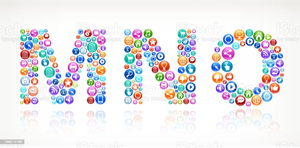 MNO with Social Technology and Internet Color Icons vector art illustration