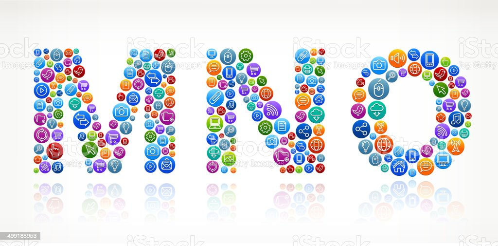 MNO with Social Networking & Internet Color Buttons vector art illustration