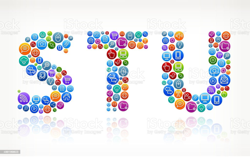 STU with Social Networking & Internet Color Buttons vector art illustration