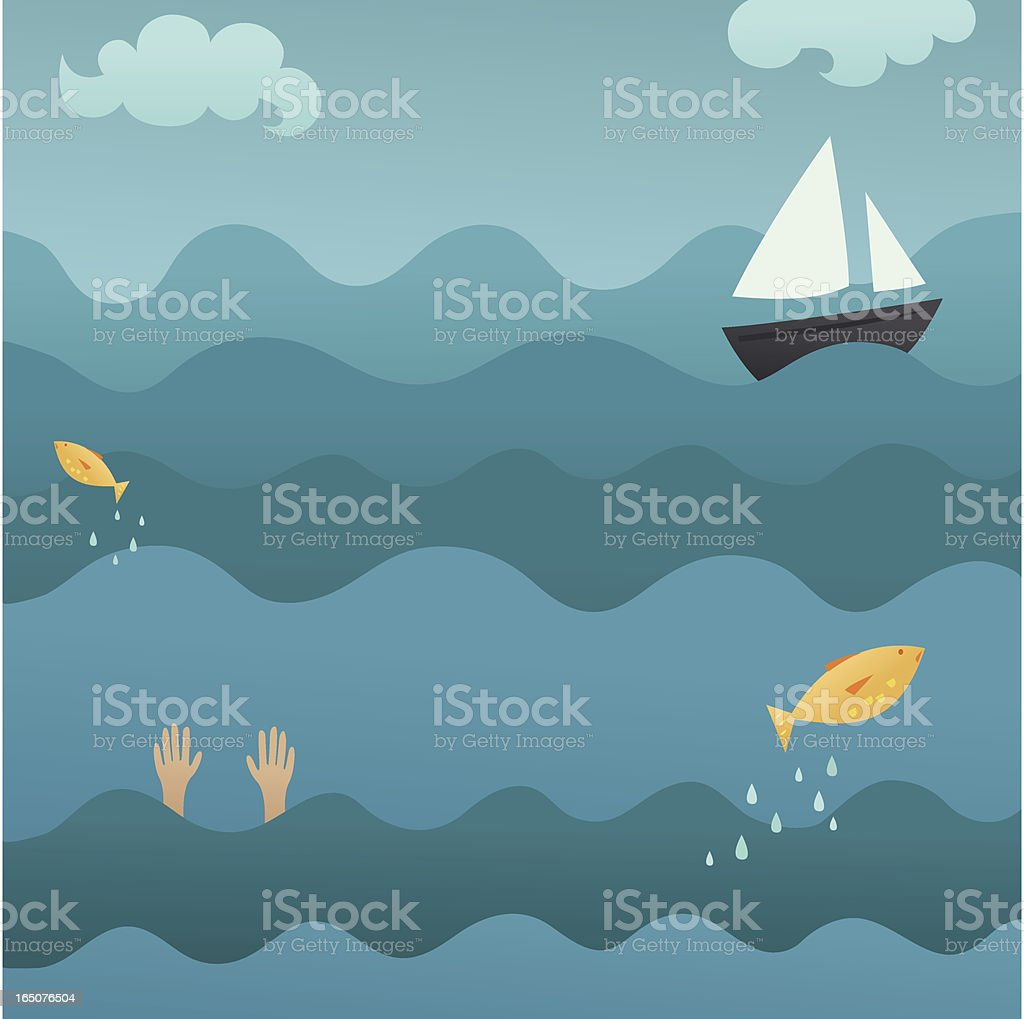 With the Fishes vector art illustration