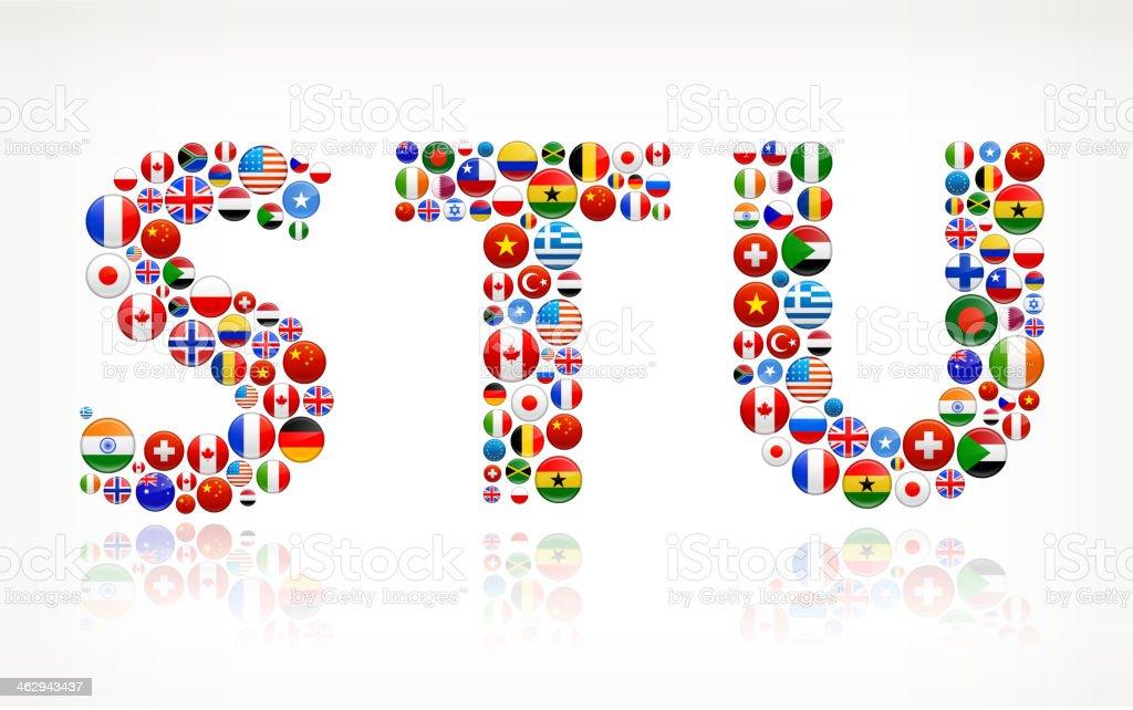 STU with World Flag Buttons vector art illustration
