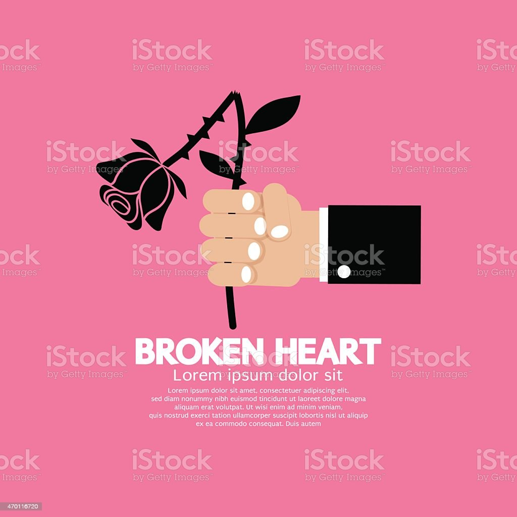 Wither Rose In Hand Broken Heart Concept vector art illustration