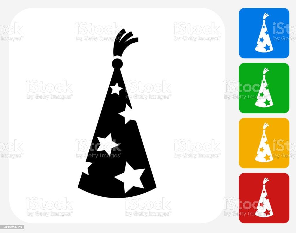 Wizard Hat Icon Flat Graphic Design vector art illustration