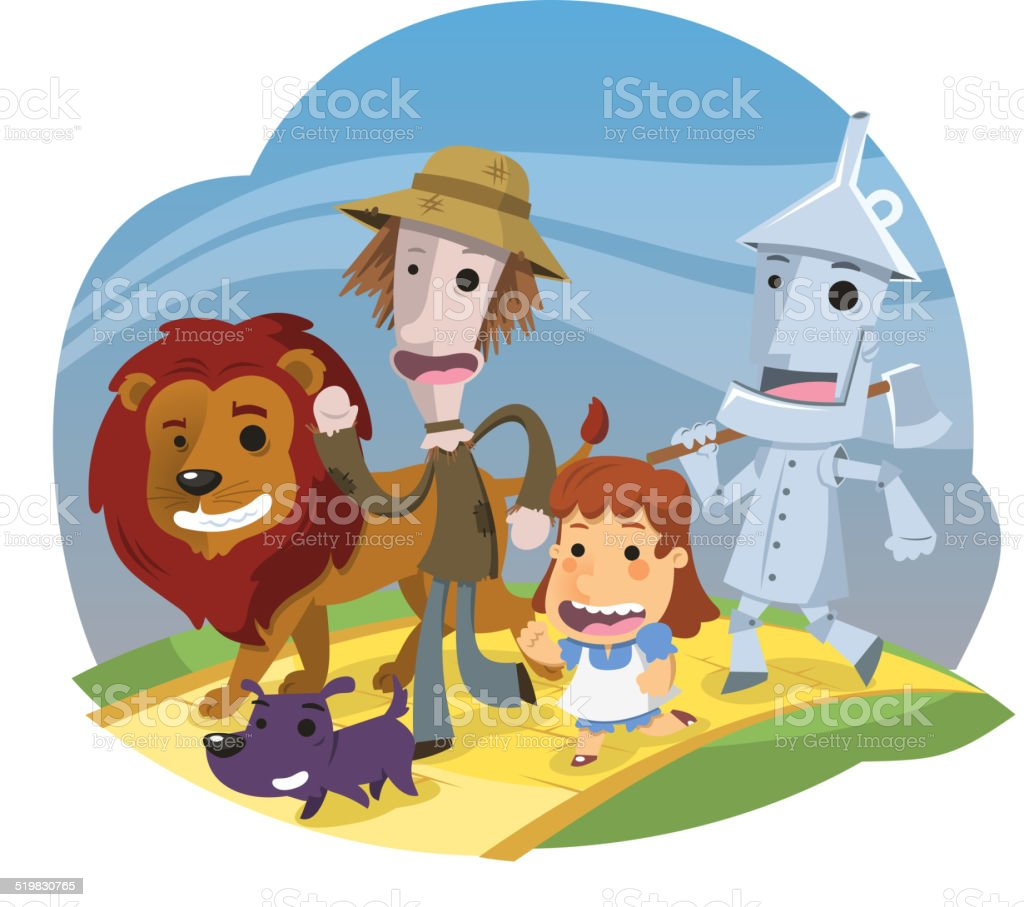 Wizard of Oz Characters vector art illustration