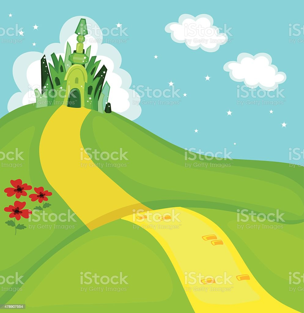 Wizard of Oz. Emerald city square. Vector Illustration vector art illustration
