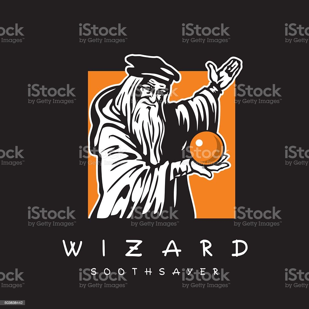 Wizard. Old man with magic crystal ball. vector art illustration