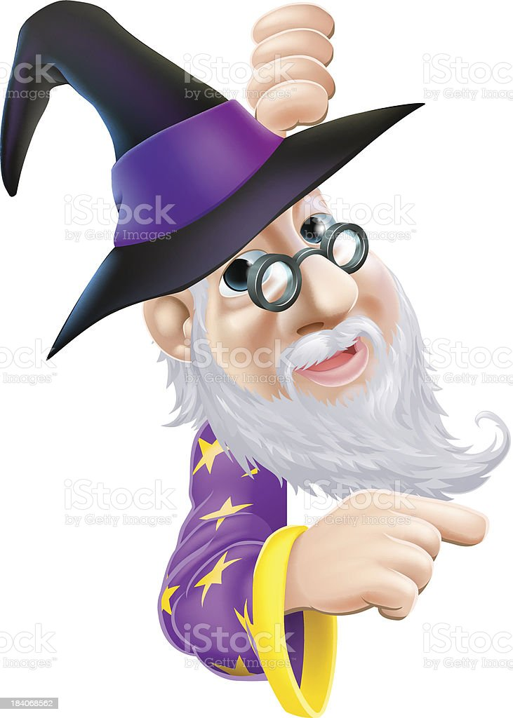 Wizard peeping round sign royalty-free stock vector art
