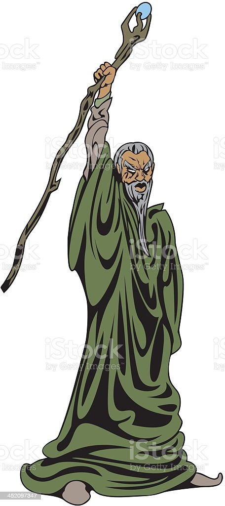 Wizard Raises His Staff royalty-free stock vector art