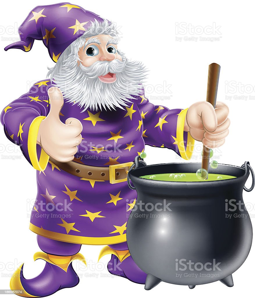 Wizard stirring cauldron royalty-free stock vector art