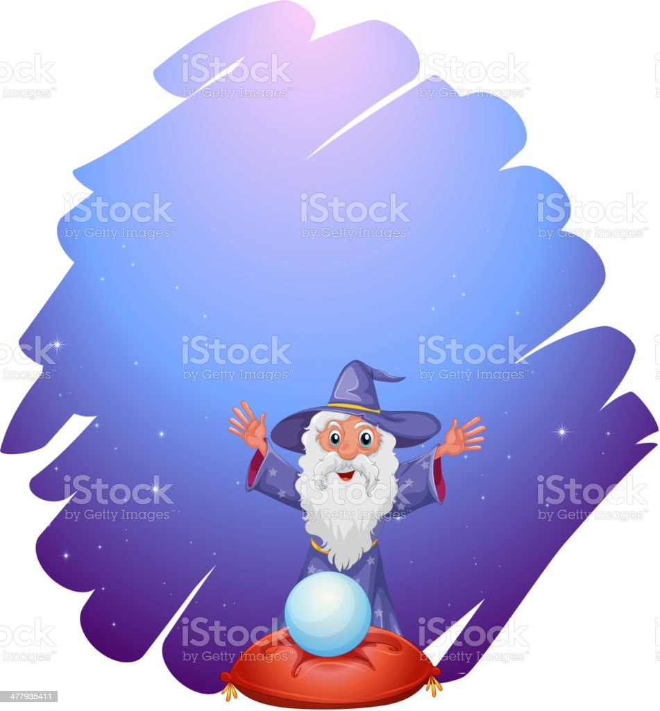 Wizard with crystal ball above a pillow royalty-free stock vector art
