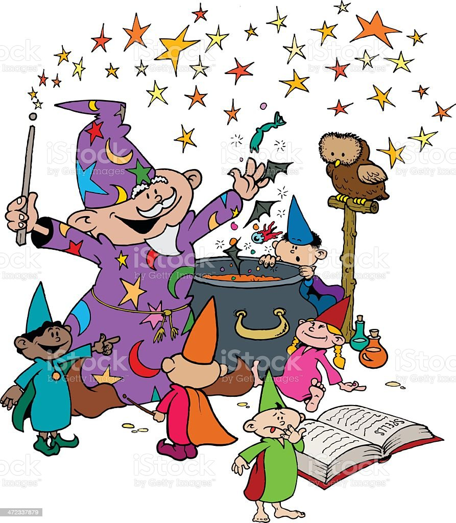 Wizard with his young Apprentices in Magic Workshop royalty-free stock vector art