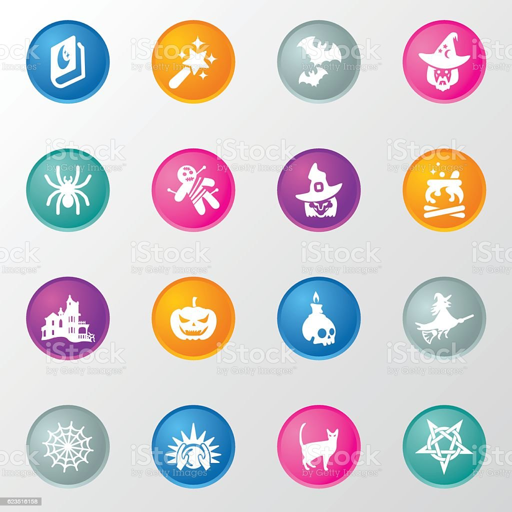 Wizards and Magic Circle Color Icons vector art illustration