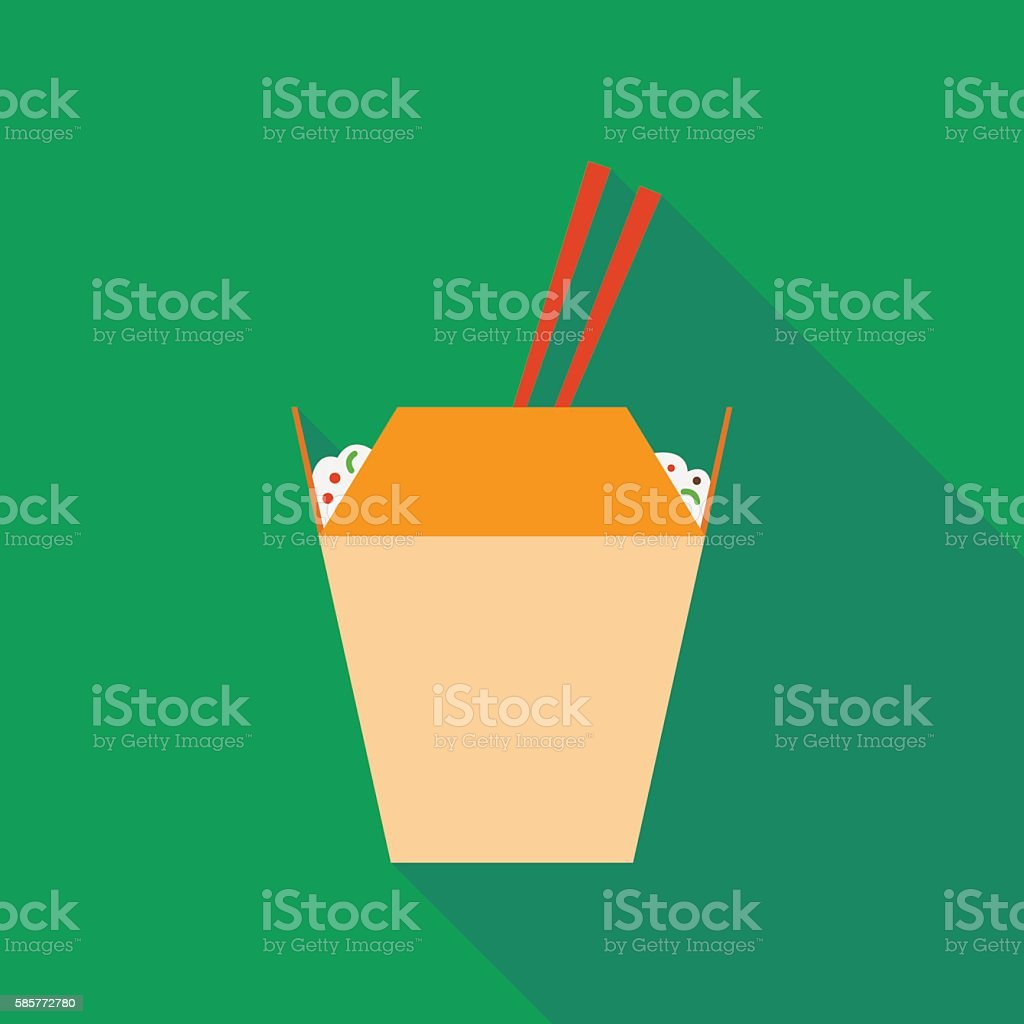 wok noodles icon with long shadow. flat style illustration vector art illustration