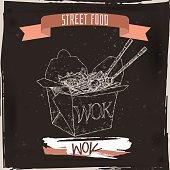 Wok noodles in a box sketch on grunge black background.