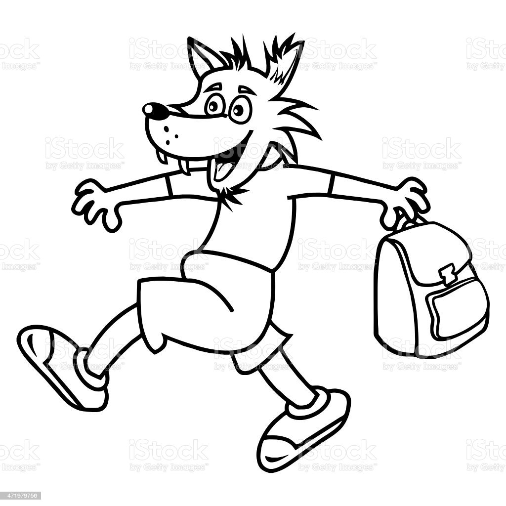 Coloring book bag - Wolf And Bag Coloring Book Royalty Free Stock Vector Art