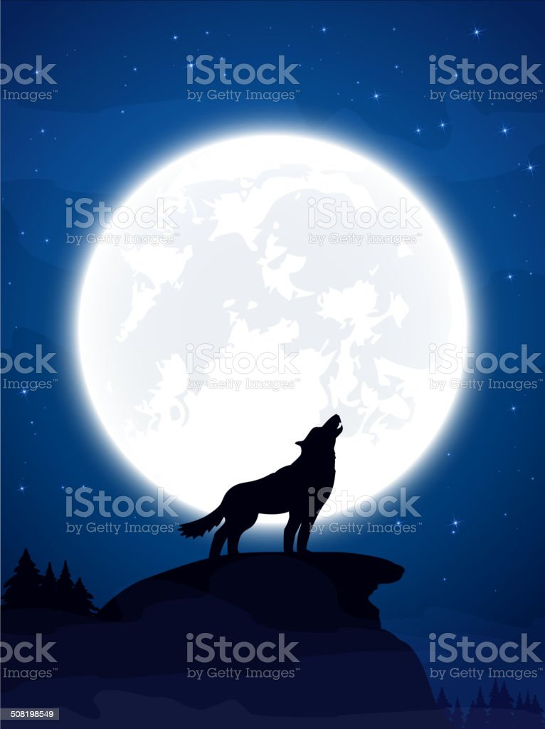 Wolf and Moon vector art illustration