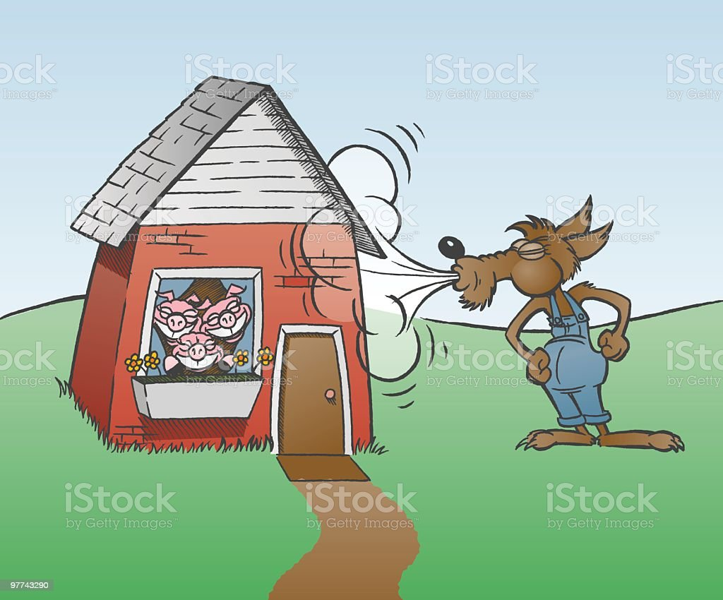 Wolf and Three Pigs vector art illustration