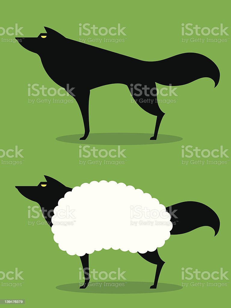 Wolf In Sheeps Clothing idiom royalty-free stock vector art