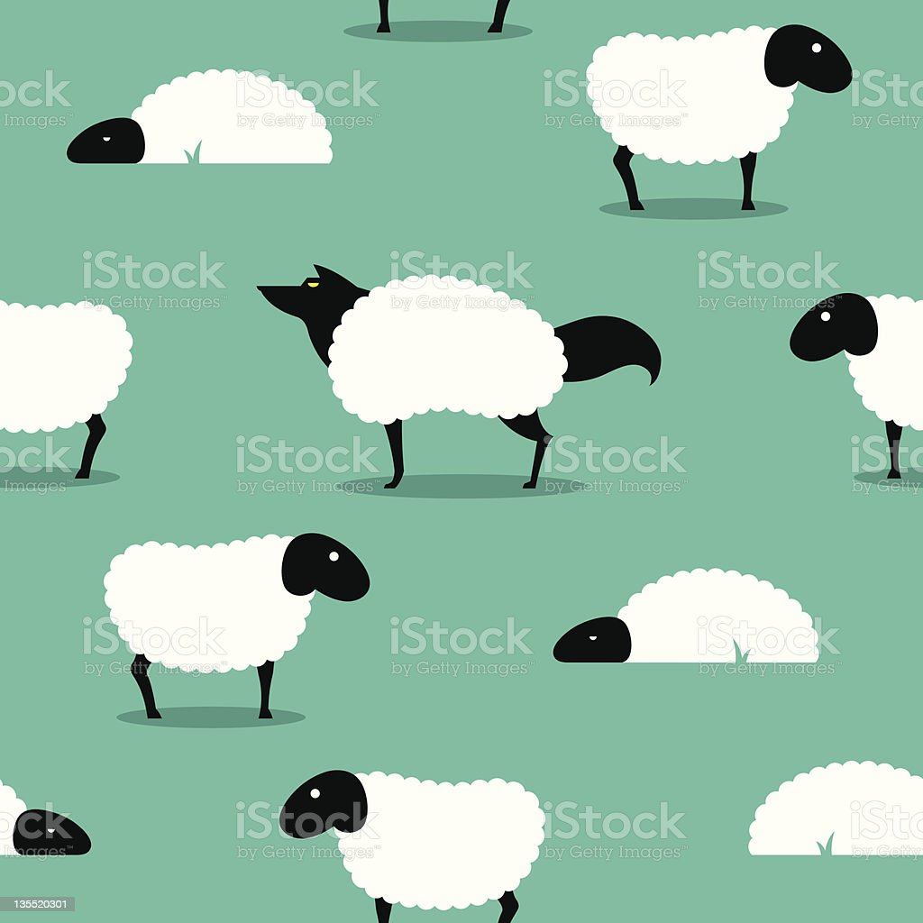 Wolf In Sheeps Clothing seamless Background idiom vector art illustration