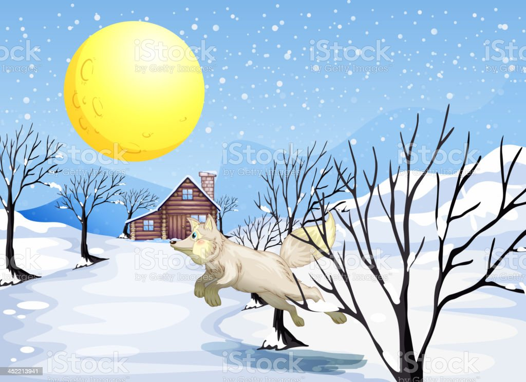 Wolf in the snow royalty-free stock vector art