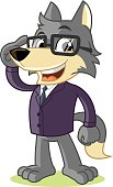 Wolf Mascot Cartoon Vector Illustration Businessman