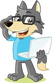 Wolf Mascot Cartoon Vector Illustration Geek