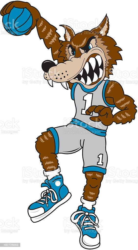 Wolf Playing Basketball royalty-free stock vector art