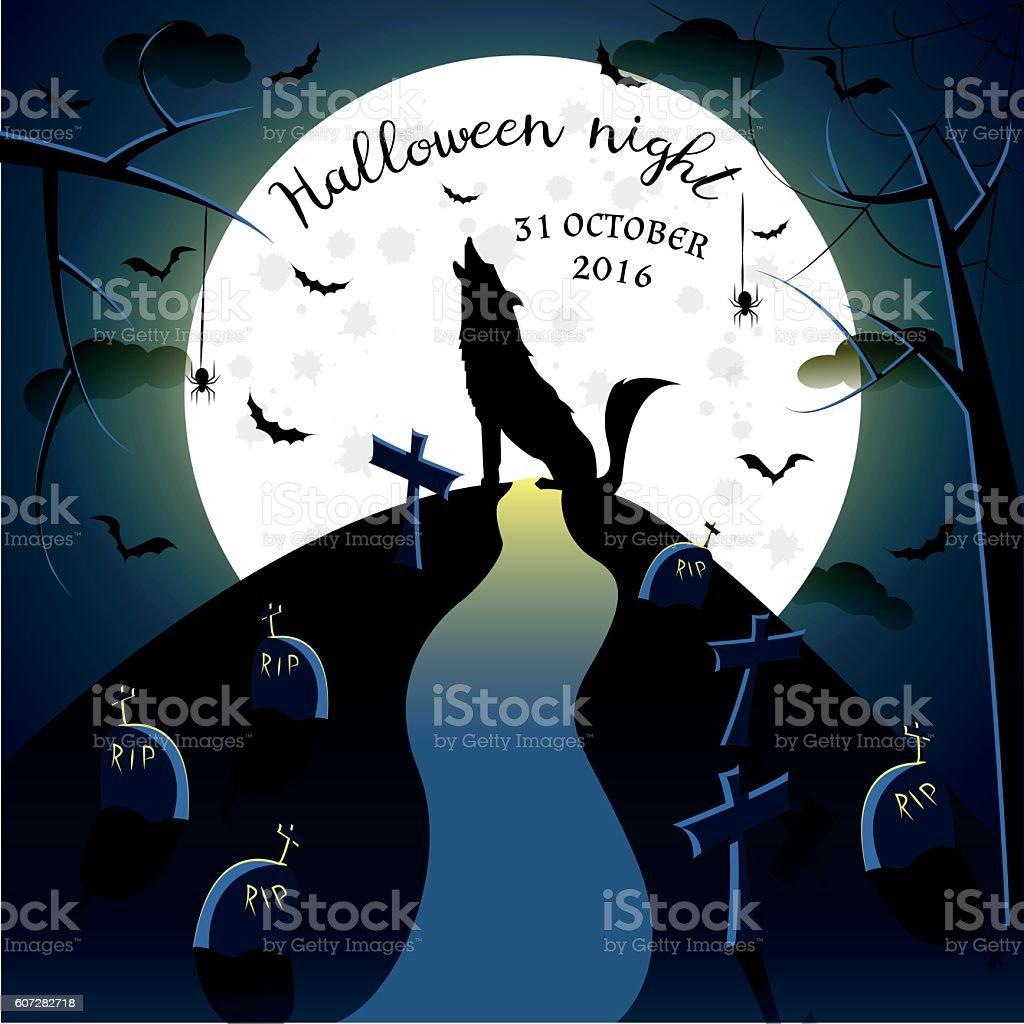 Wolf silhouette on moon background stock vecteur libres de droits libre de droits