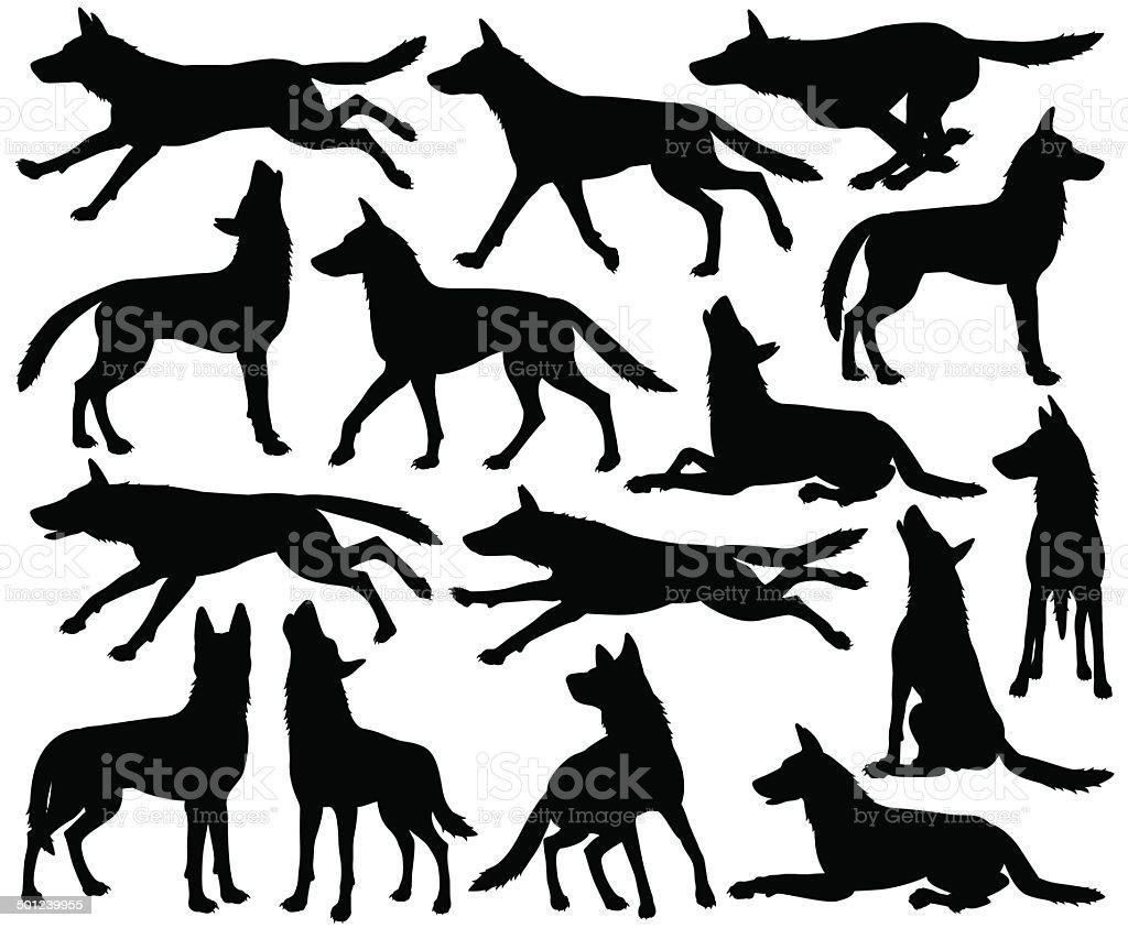 Wolf silhouettes vector art illustration