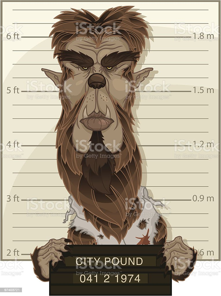 Wolfman Mug Shot vector art illustration