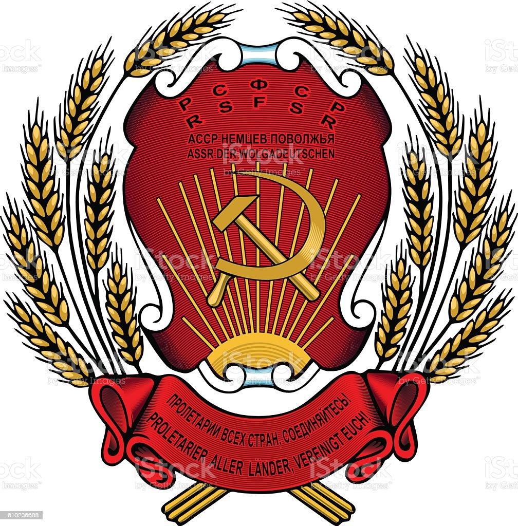 Wolgadeutschen Soviet Russian, Germany, Coat of Arms, DDR royalty-free stock vector art