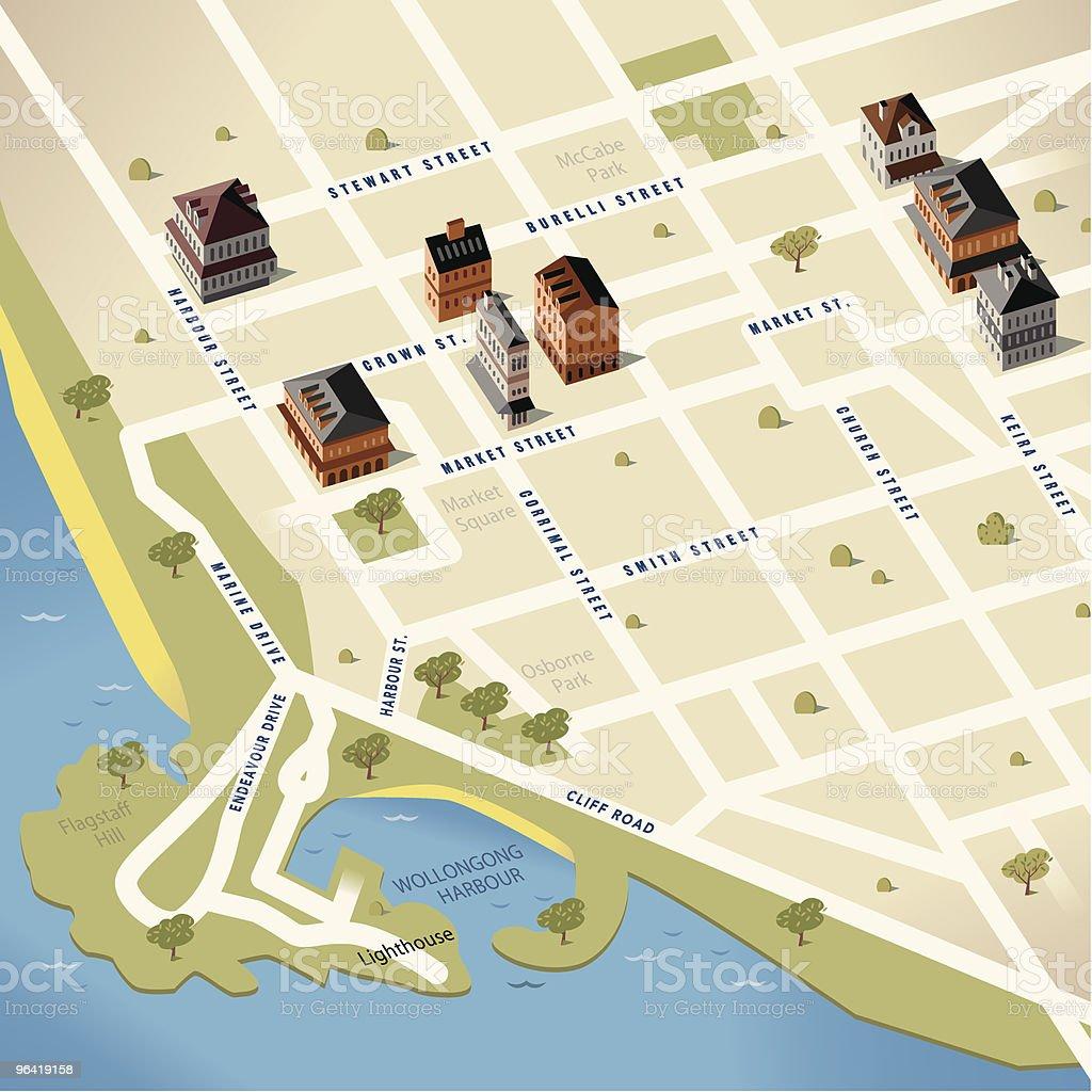 Wollongong,NSW, Australia Map royalty-free stock vector art