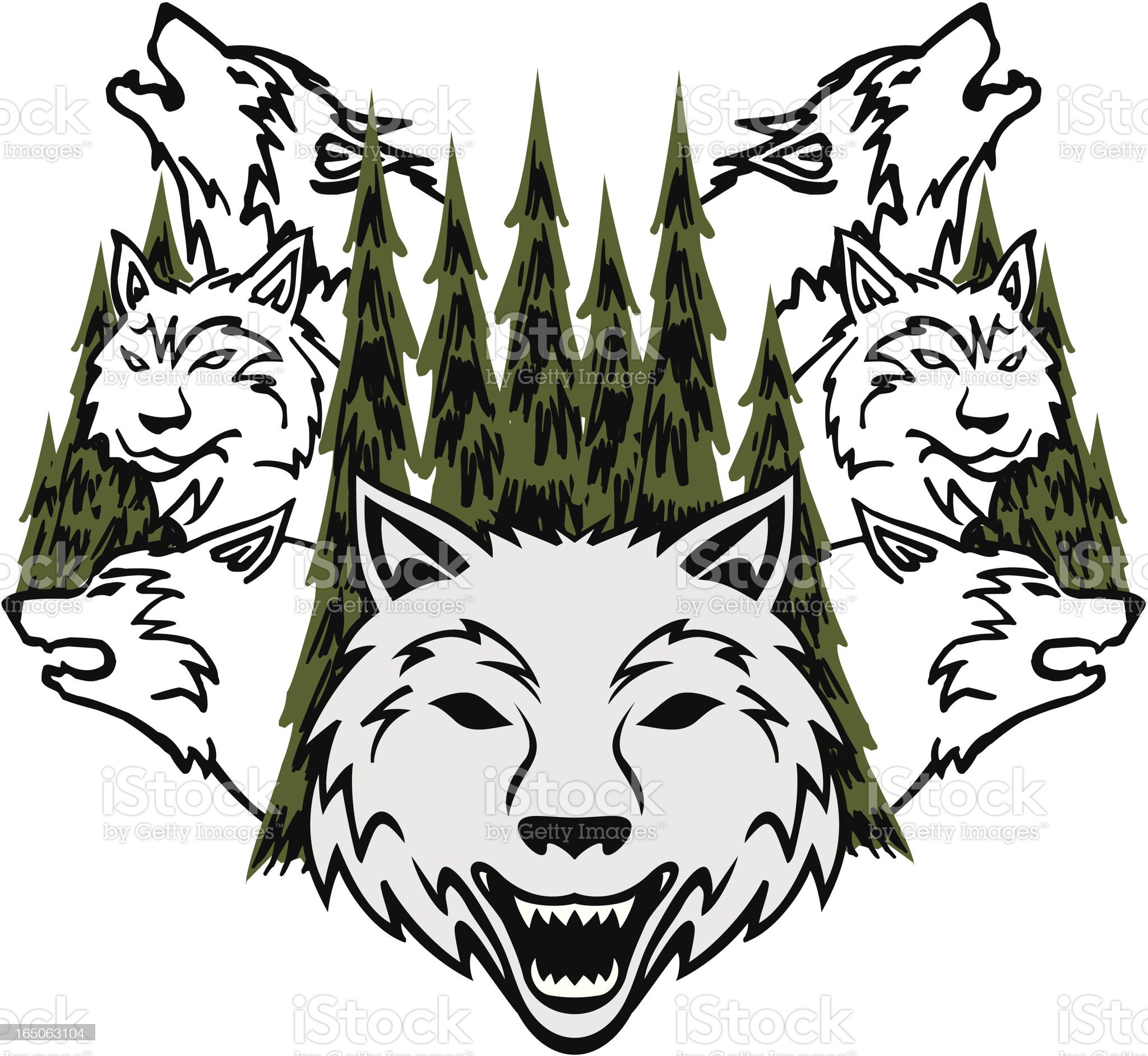 Wolves and Trees royalty-free stock vector art