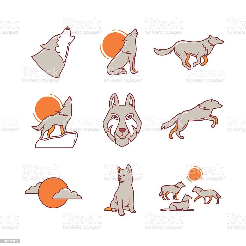 Wolves hauling, jumping and running, cub, pack vector art illustration
