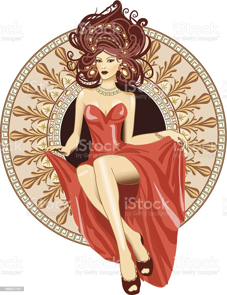 Woman a Art Nouveau style sitting in ornamental circle. royalty-free stock vector art