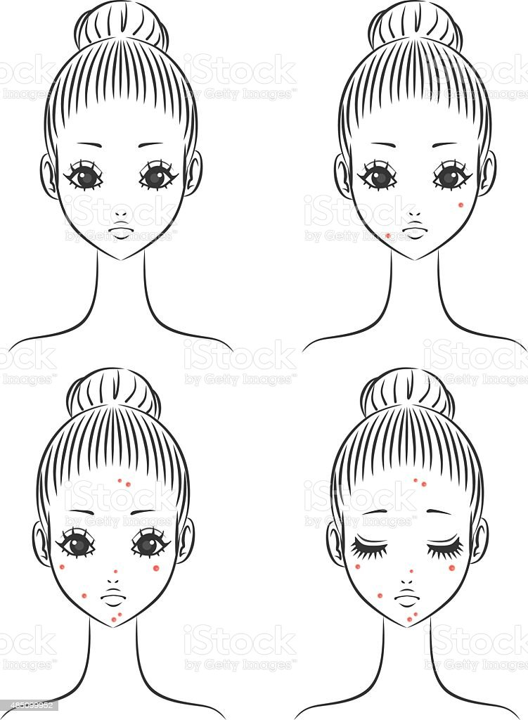 Woman acne vector art illustration