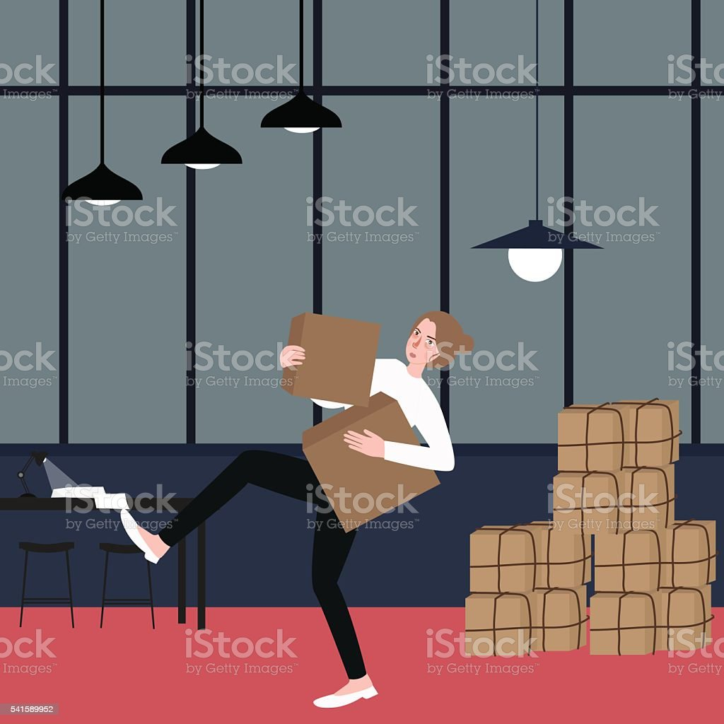 woman almost fall holding bring cardboard box with pile of vector art illustration